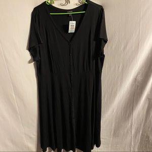 Torrid cute button down black midi dress NWT sz 2